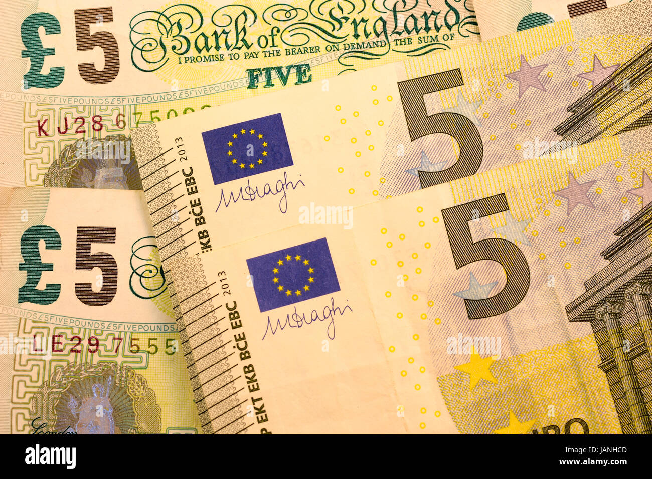 Close Up Pounds USD And EUR Dollar Euro Currency Note
