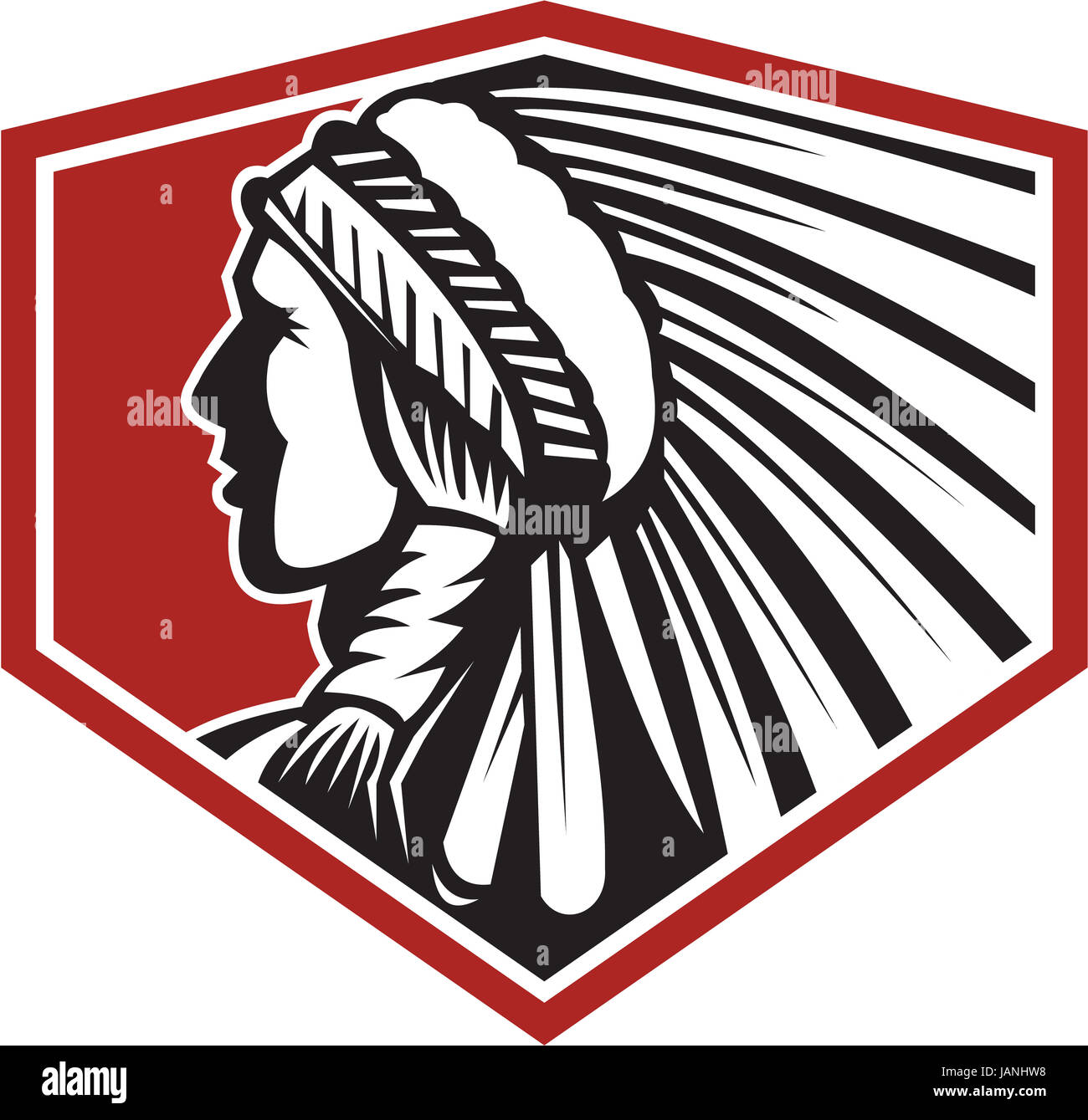 Illustration of a native american indian chief wearing feathers headdress viewed from side done in retro style on - Stock Image