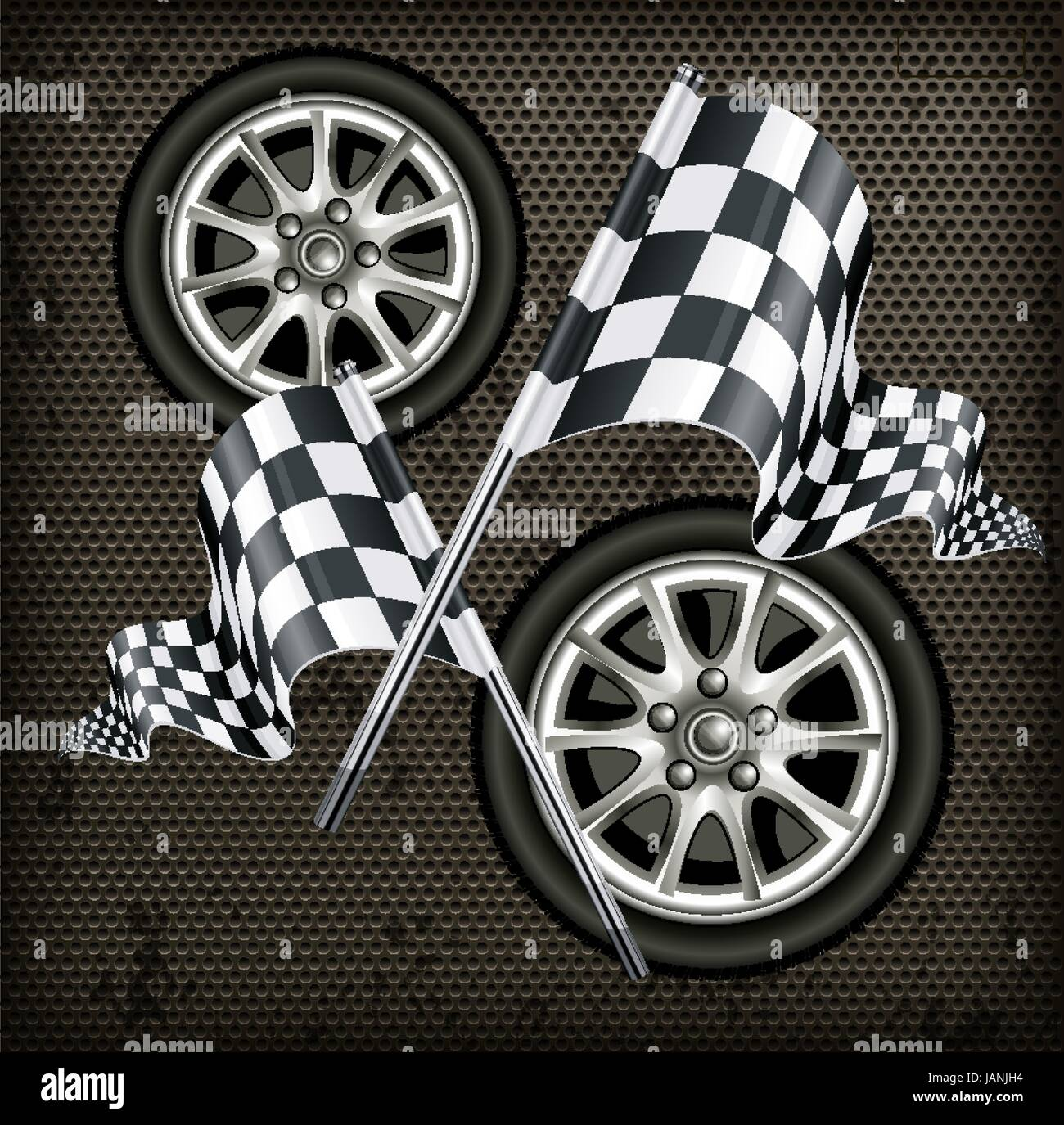 Vector illustration Race - flags and wheels - Stock Vector