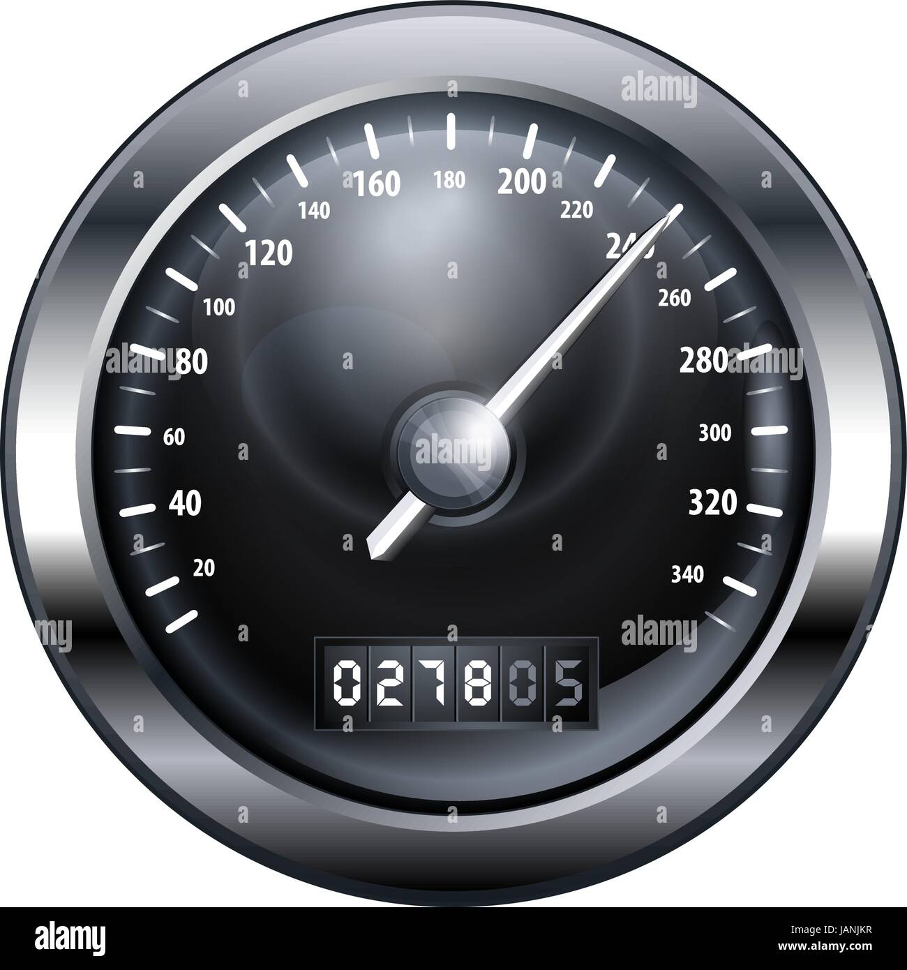 speedometr iconblack and white - Stock Image