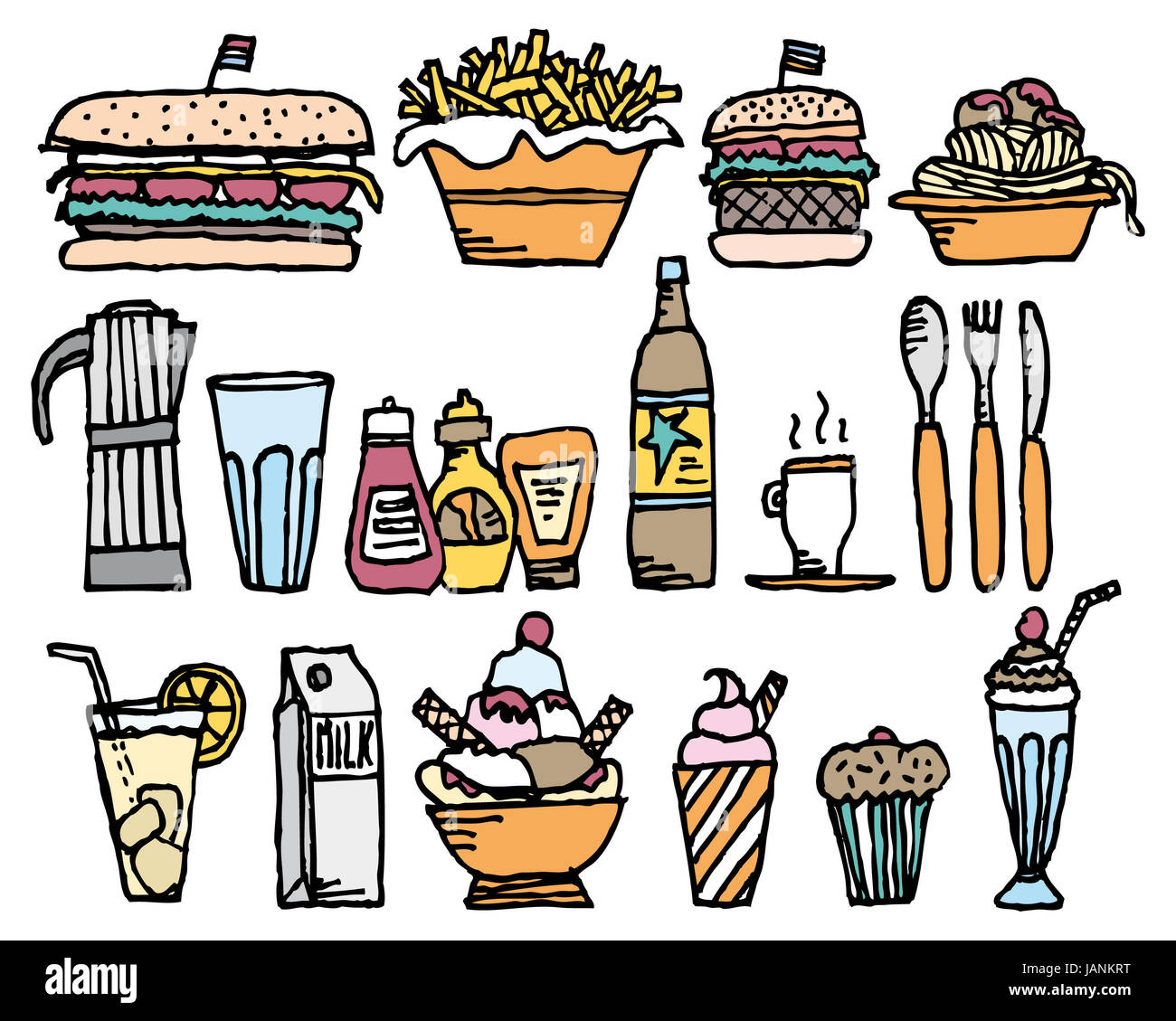 Food and drinks / Color restaurant stuff Stock Photo: 144306060 - Alamy