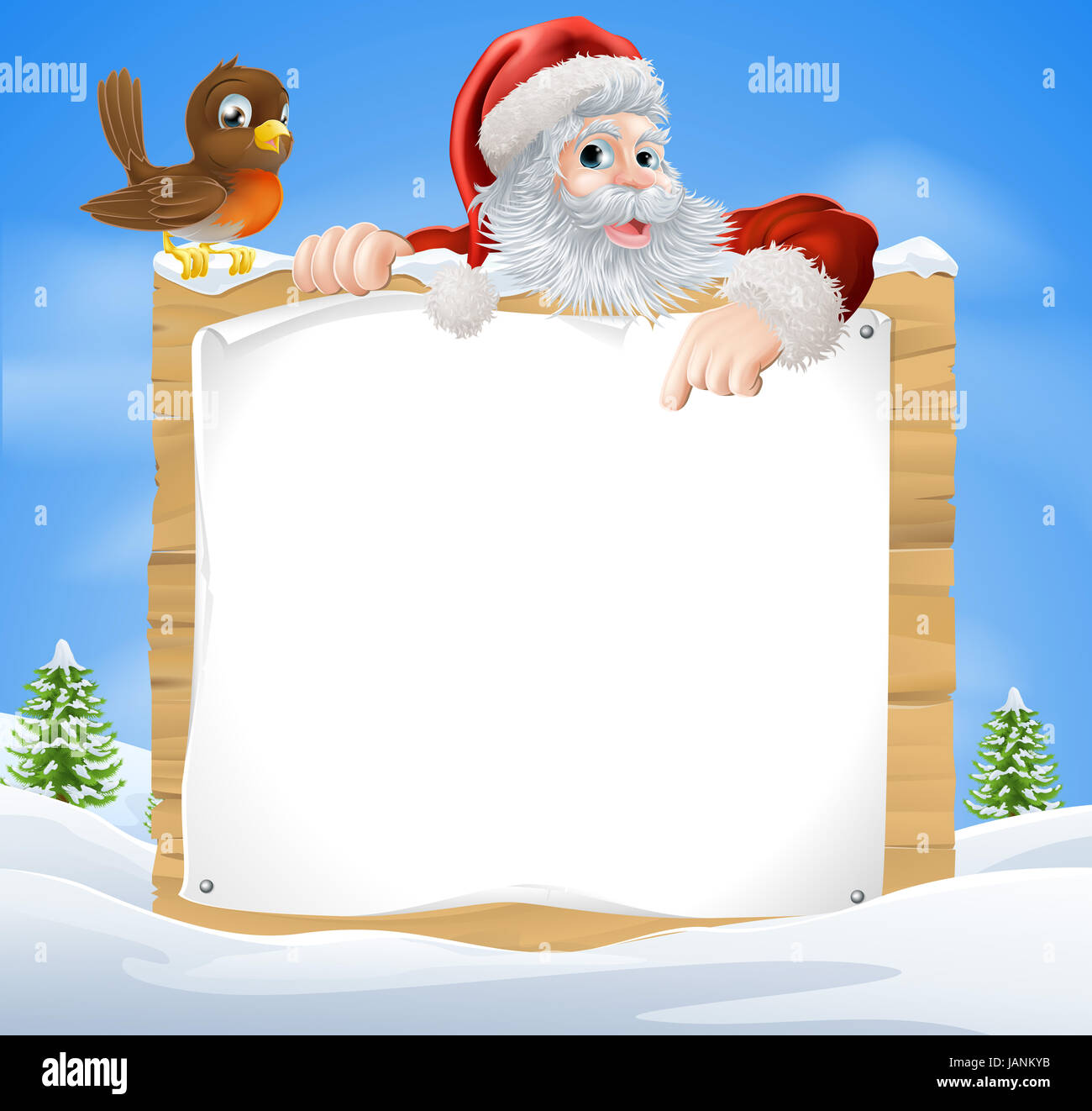 A Christmas Snow.A Christmas Snow Scene With Santa Claus And A Cute Cartoon
