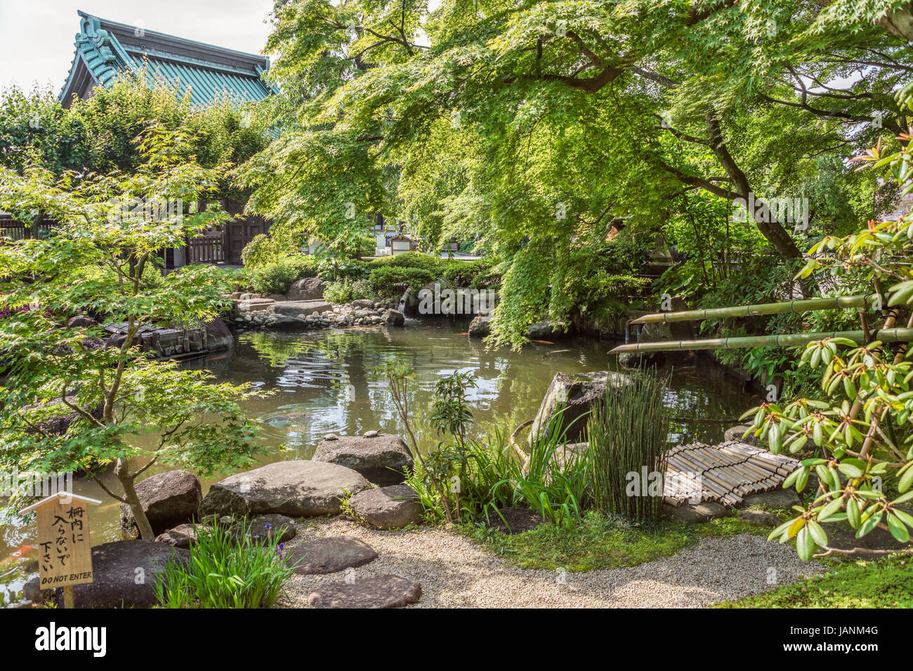 Garden of the Hase-dera temple, commonly called the Hase-kannon, one of the Buddhist temples in Kamakura, Kanagawa - Stock Image
