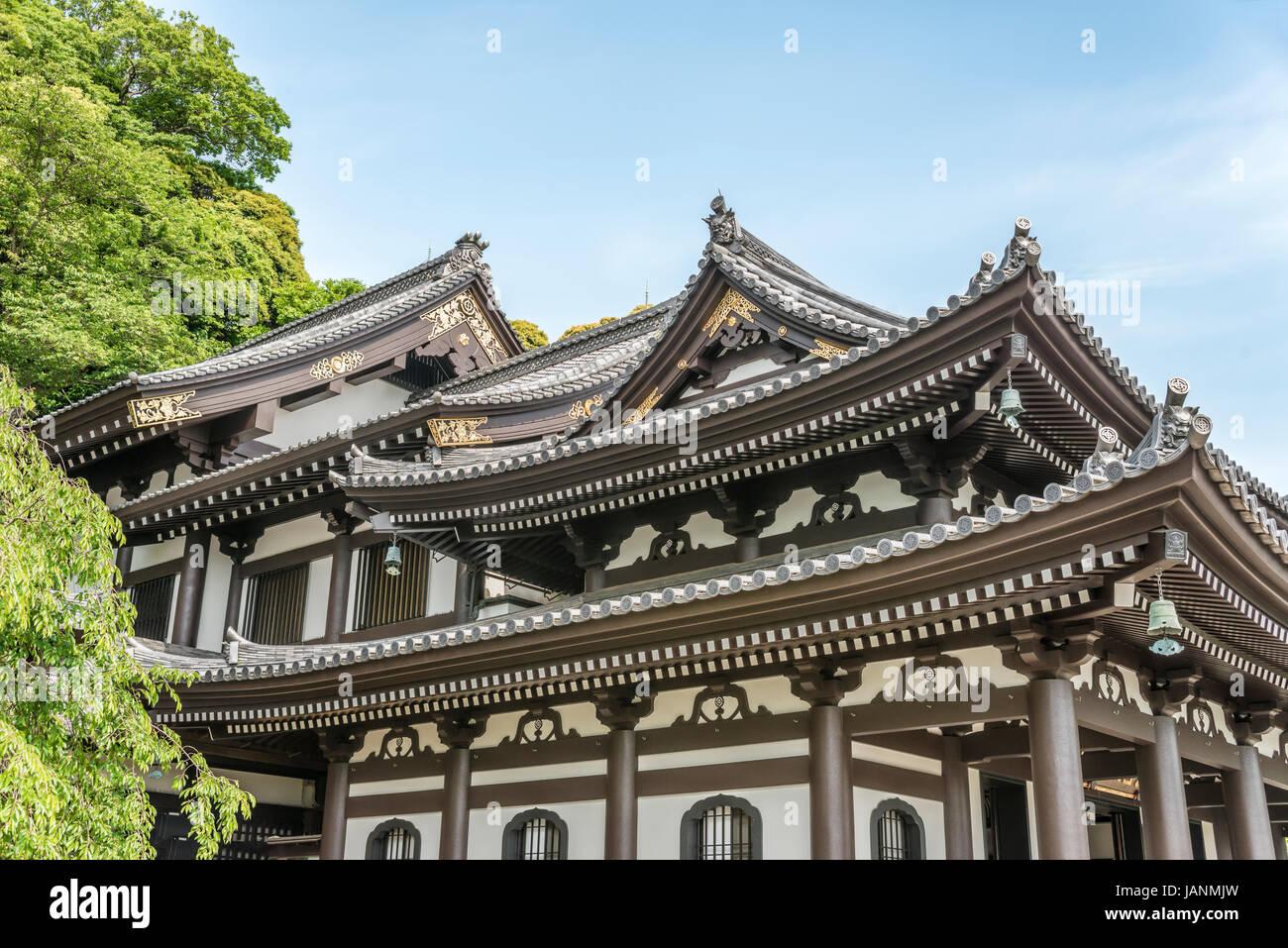 Kannon-do Hall of the Hase-dera temple, commonly called the Hase-kannon, one of the Buddhist temples in Kamakura, - Stock Image