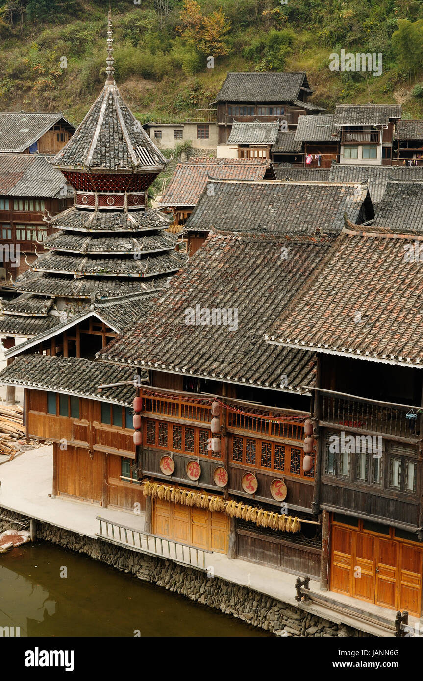 China, Zhaoxing - gorgeous Dong village is packed whit traditional wooden structures, several wind-and-rain bridges Stock Photo