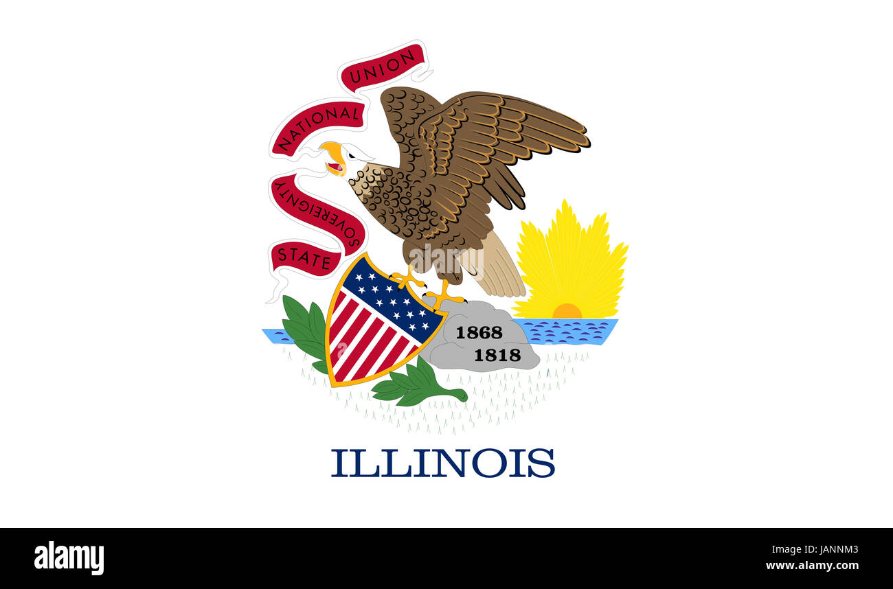 Illustration of the flag of Illinois state in America - Stock Image