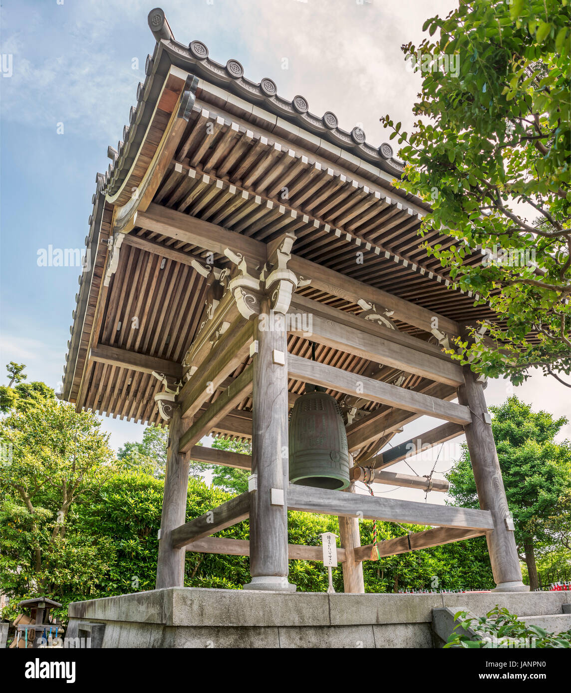Shoro Belfry bronze bell at the Hase-dera temple, commonly called the Hase-kannon, one of the Buddhist temples in - Stock Image