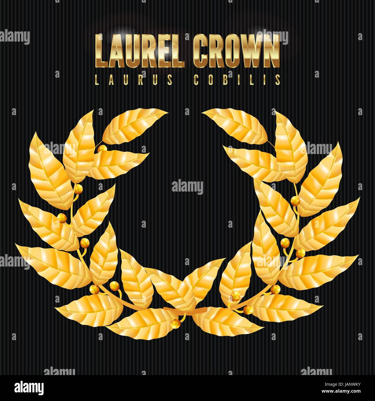 Laurel Crown. Greek Wreath With Golden Leaves. Vector Illustration. - Stock Image
