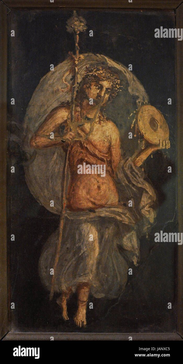 Maenad with drum. From Herculaneum. National Archaeological Museum. Naples. Italy. Stock Photo