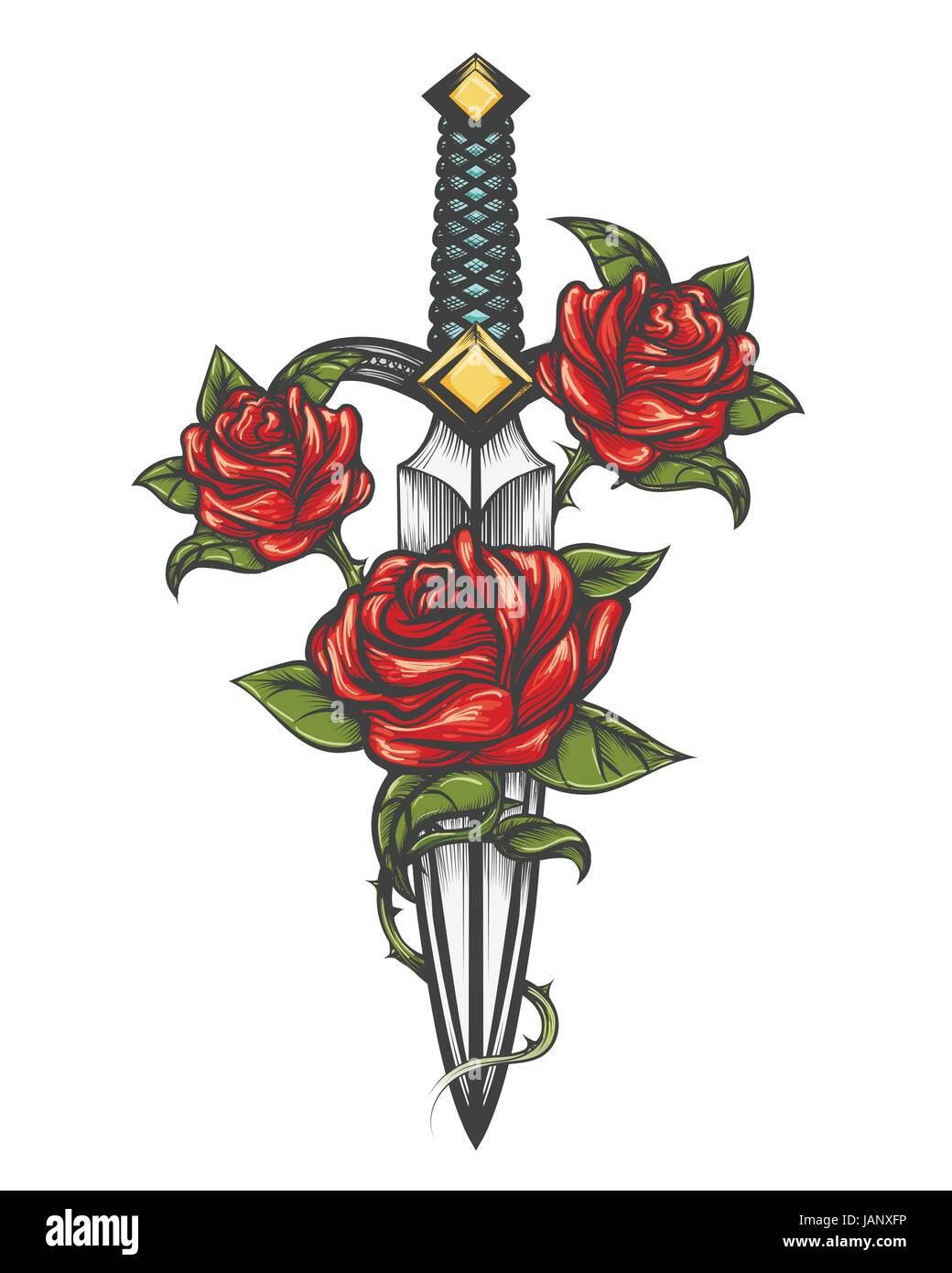 Traditional tattoo with rose flowers and dagger knife. Vector illustration isolated. Colorful Tattoo in engraving - Stock Vector