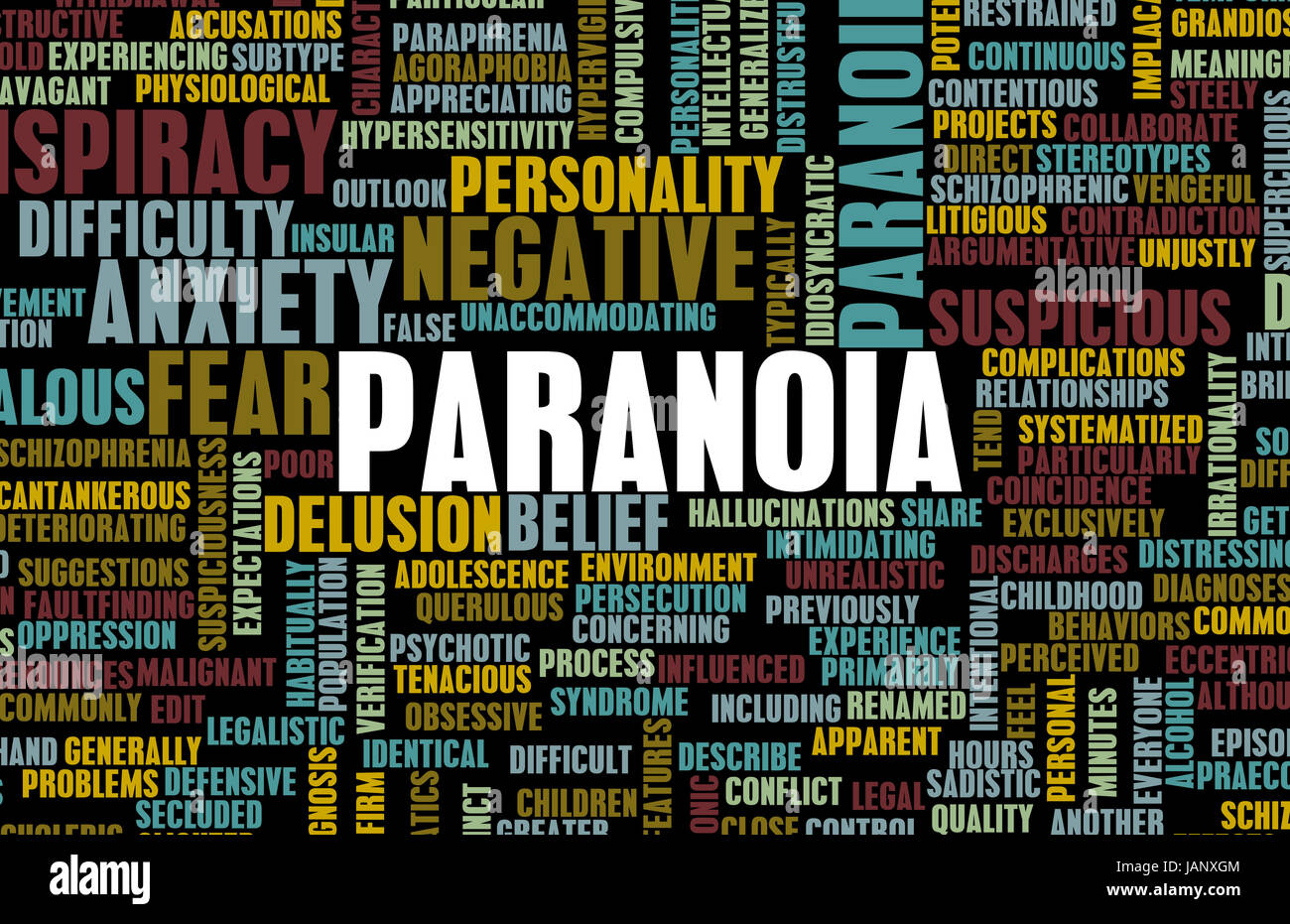 Paranoid and Paranoid Mental Anxiety as Concept - Stock Image