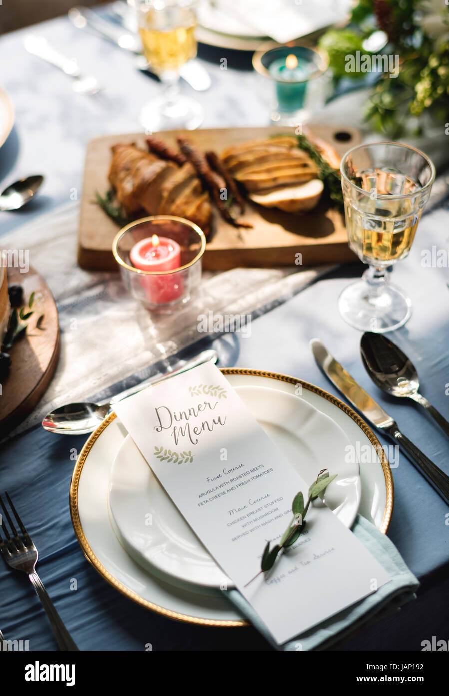 Dinner Menu on Plates Table Setting - Stock Image