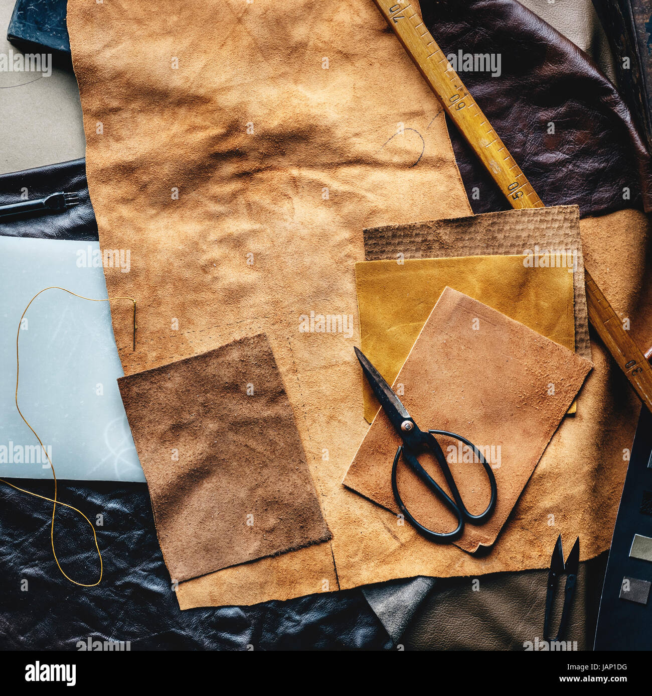 Aerial view of leather crafting with tools Stock Photo