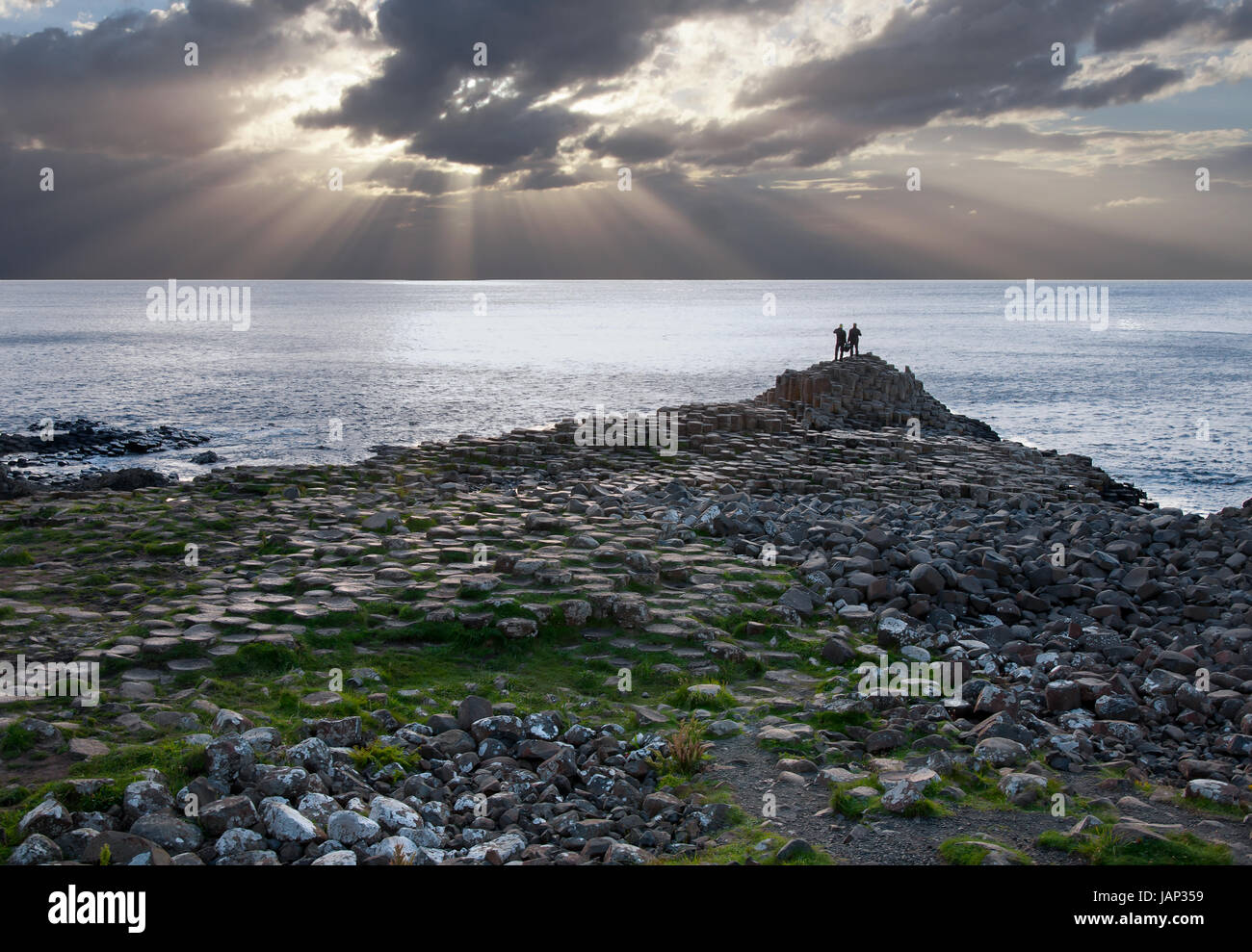 Giants Causeway,unique geological formations of basalt volcanic rocks on the Atlantic coast in Northern Ireland, - Stock Image