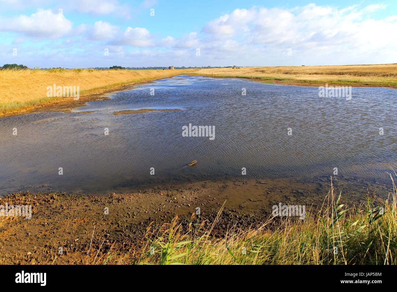 Lagoon and Martello Tower Y 1808 converted Duncan and Kristin Jackson, Alderton, Suffolk, England, UK - Eastern Stock Photo