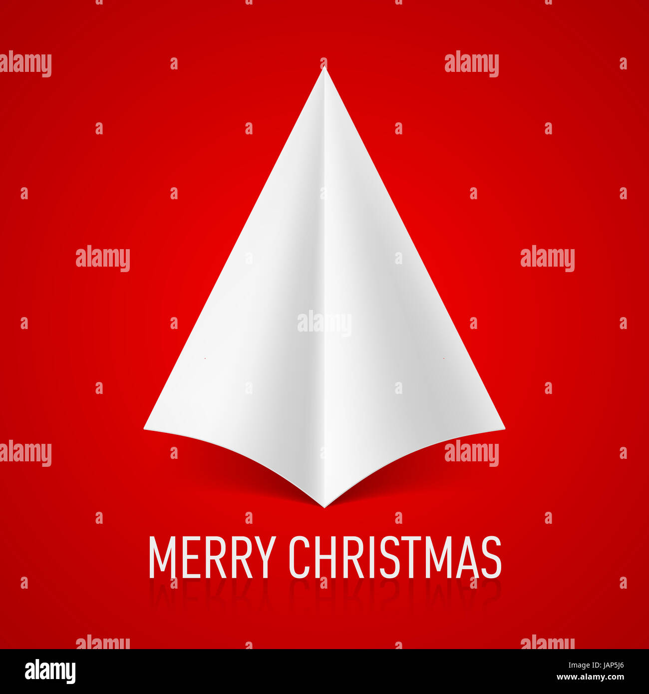 Abstract white paper Christmas tree on red background. Greeting card ...
