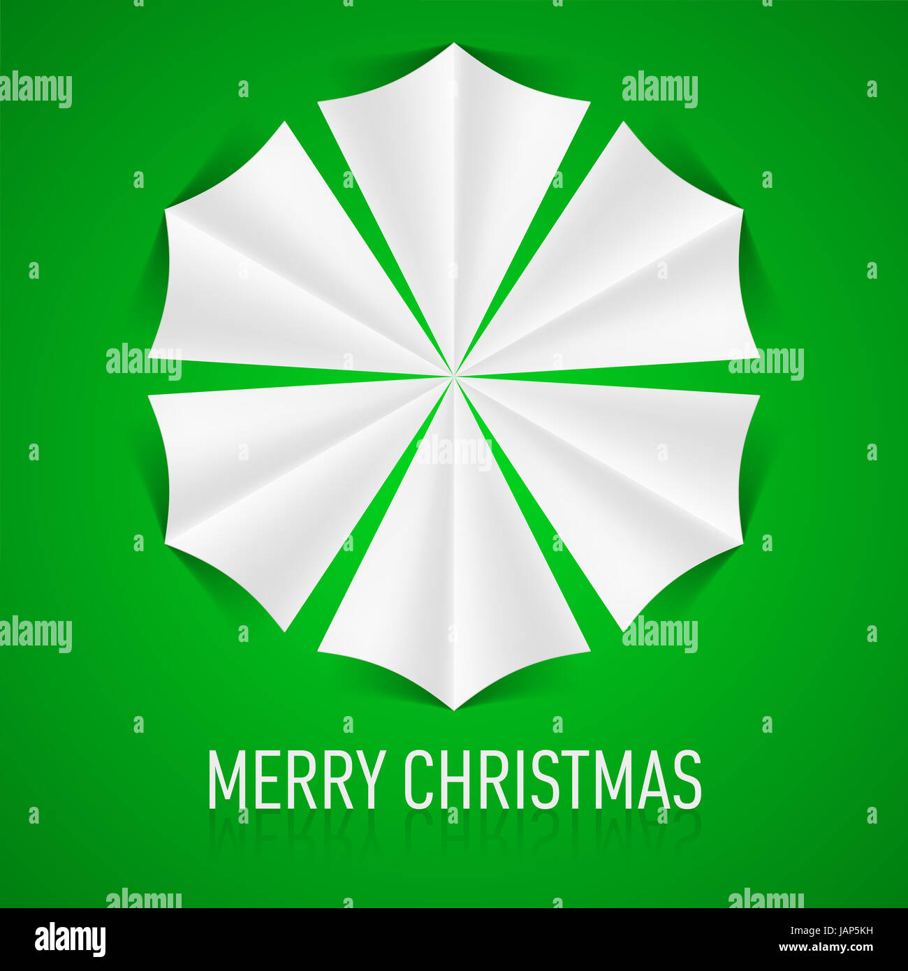 Paper snowflake on green background. Christmas card Stock Photo ...