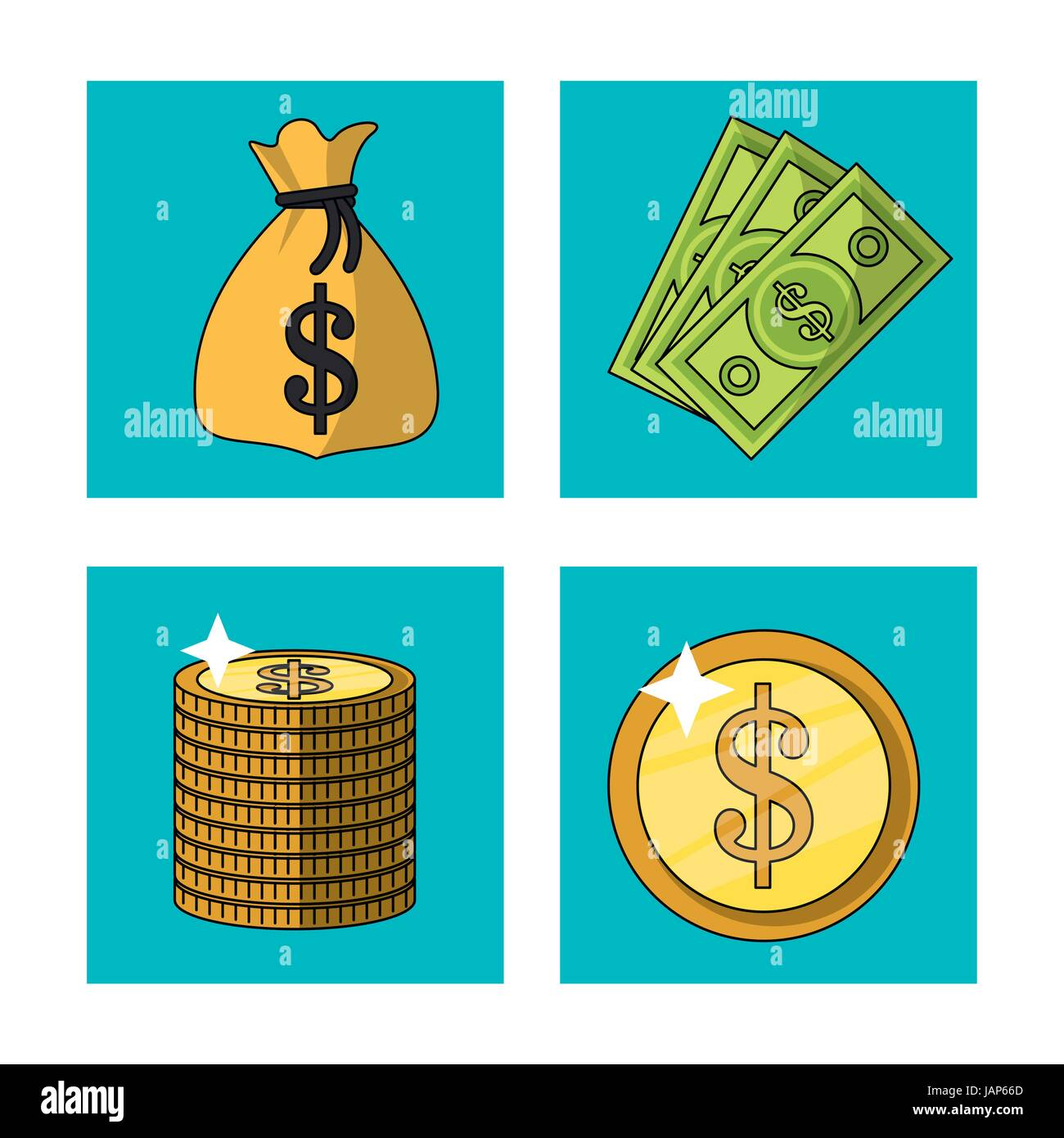 c6a9d1124780 white background with money bag and bills and coins in square frames -  Stock Vector