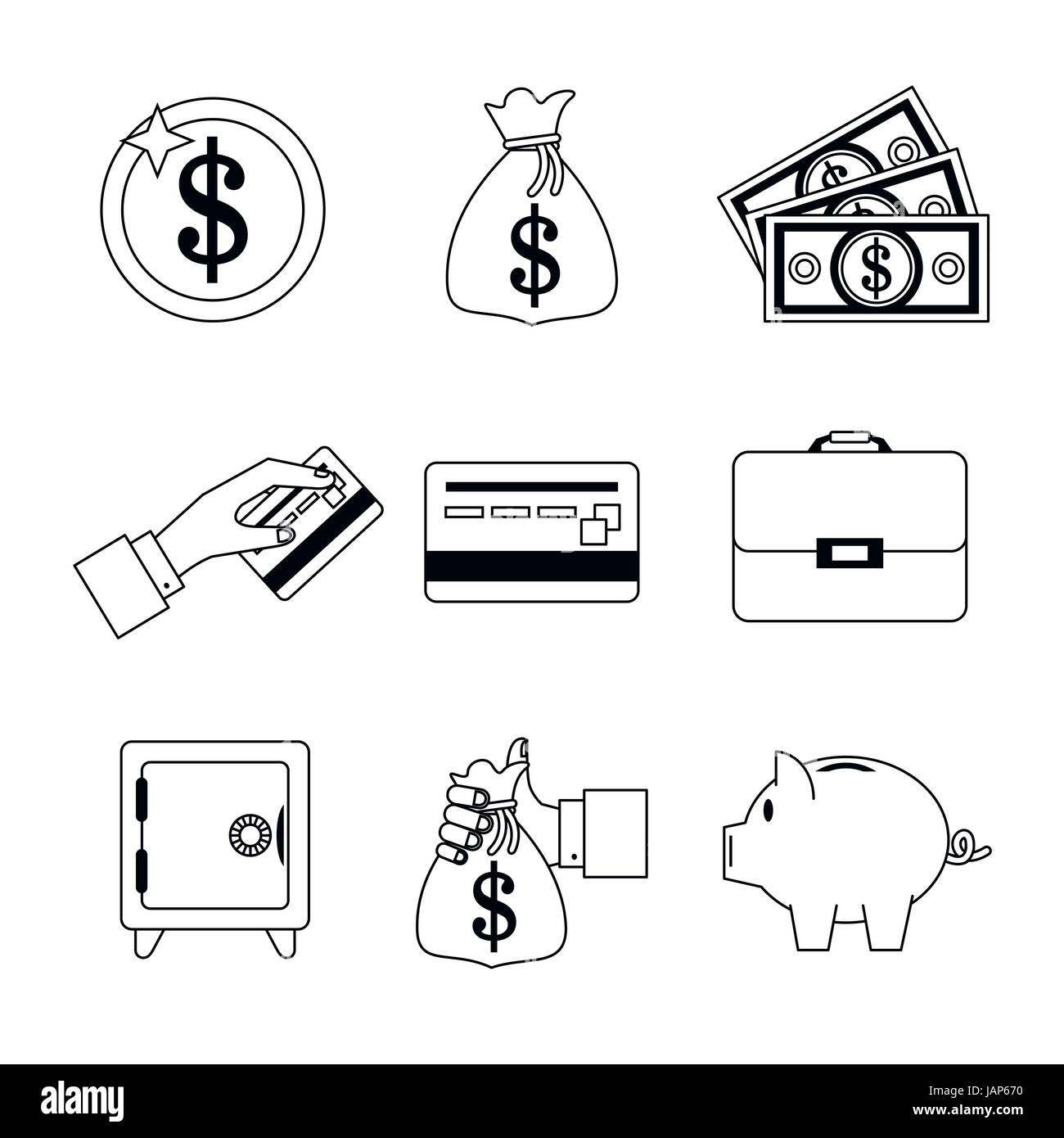 white background with set of monochrome graphics related to money - Stock Image