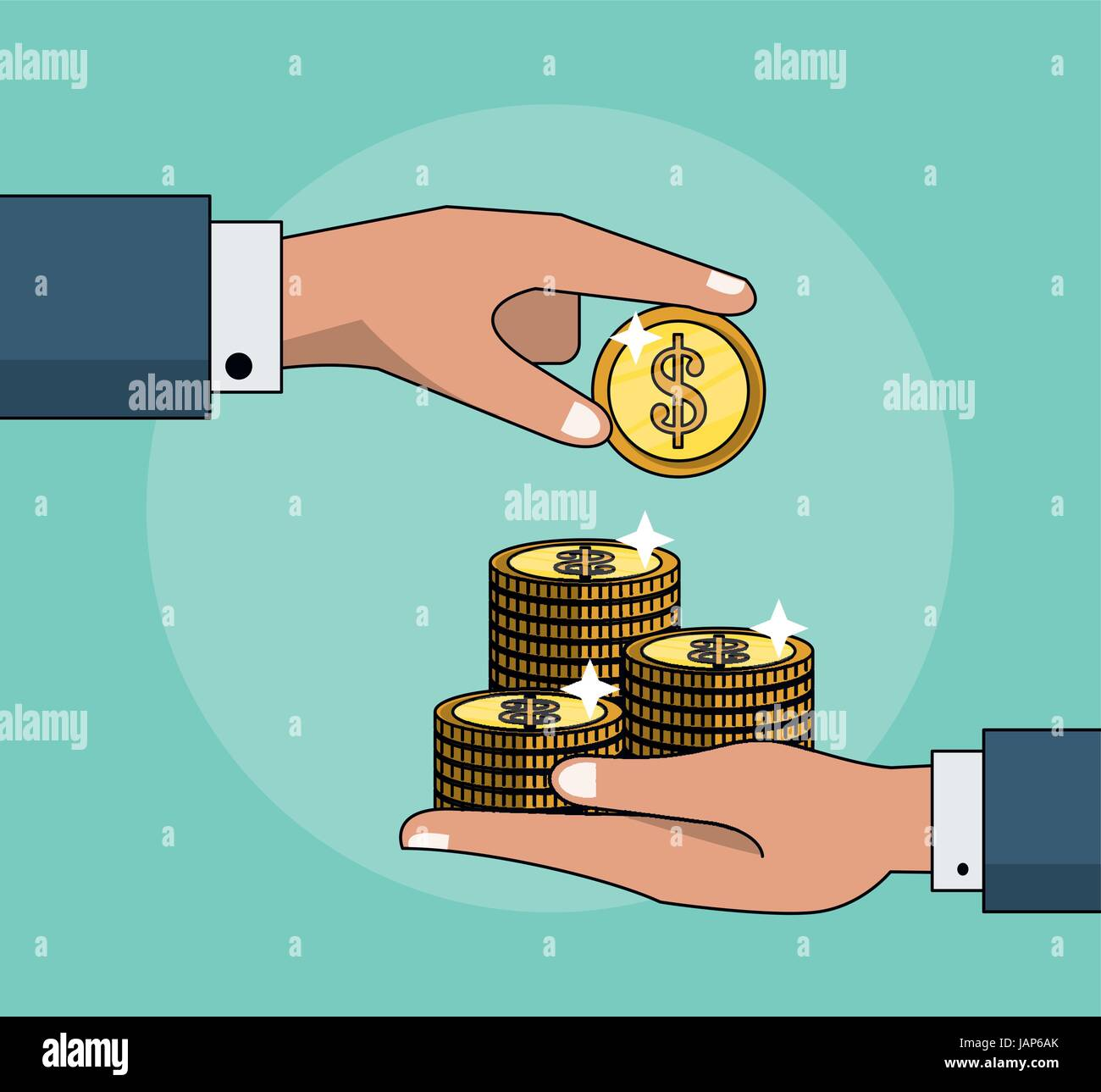 colorful background with transaction with coins between two persons - Stock Image