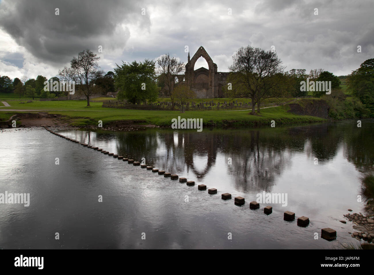 Bolton Abbey Priory and Stepping Stones, Wharfedale, Yorkshire Dales - Stock Image