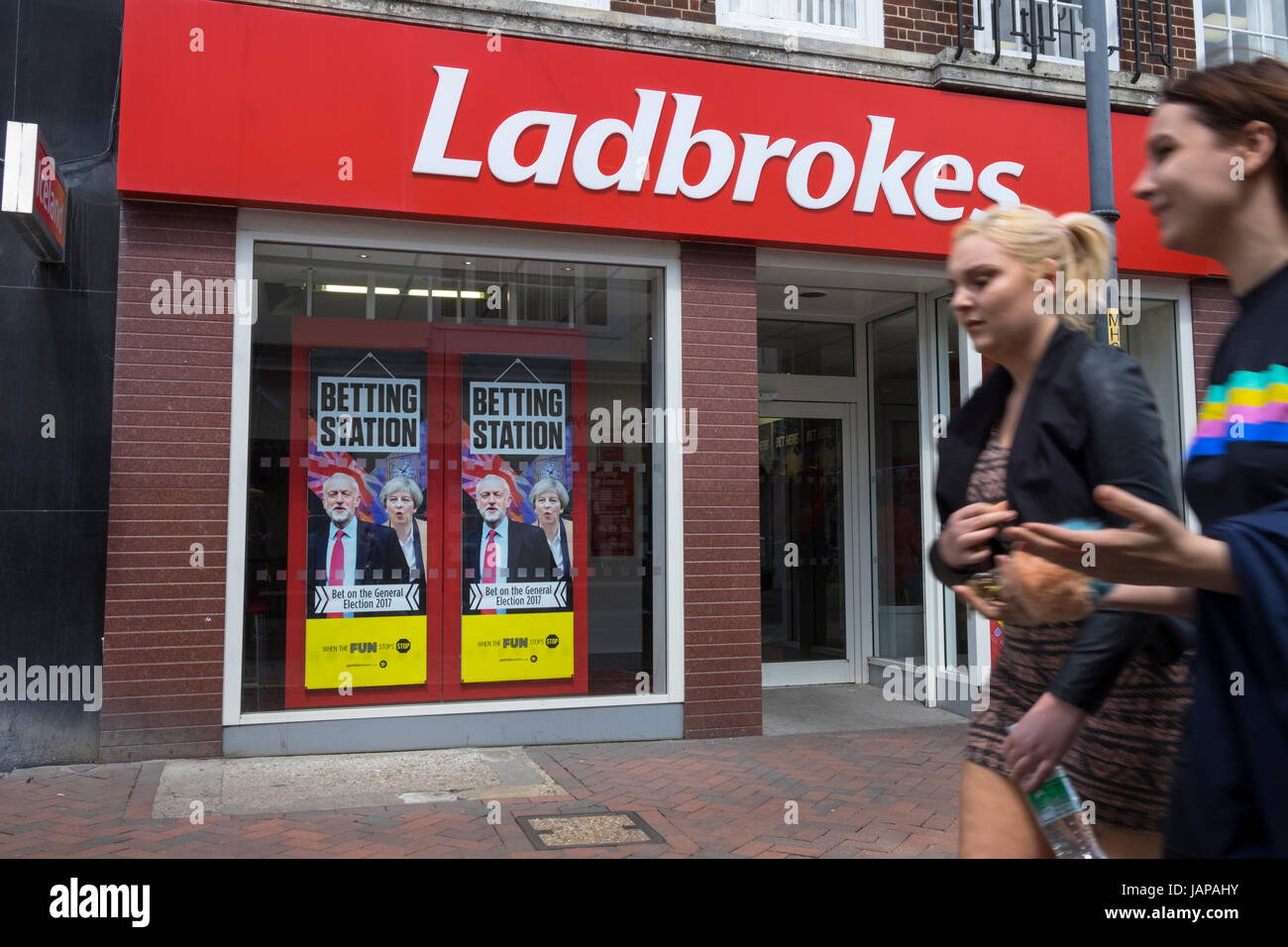 Labrokes betting shop offering odds on the general election 2017 - Stock Image