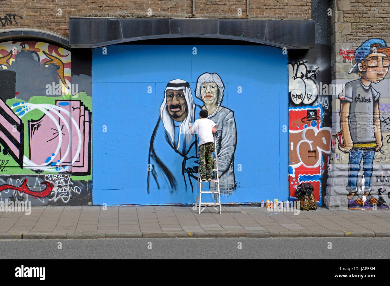 Bristol, UK. 7th June, 2017. A new piece of street art takes shape in Stokes Croft. Stokes Croft is an area of the - Stock Image