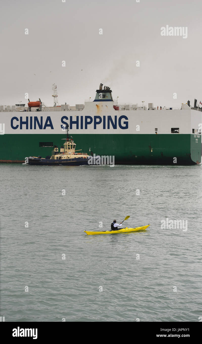 CSCC Tianjin vehicle carrier operates out of Southampton Docks - Stock Image