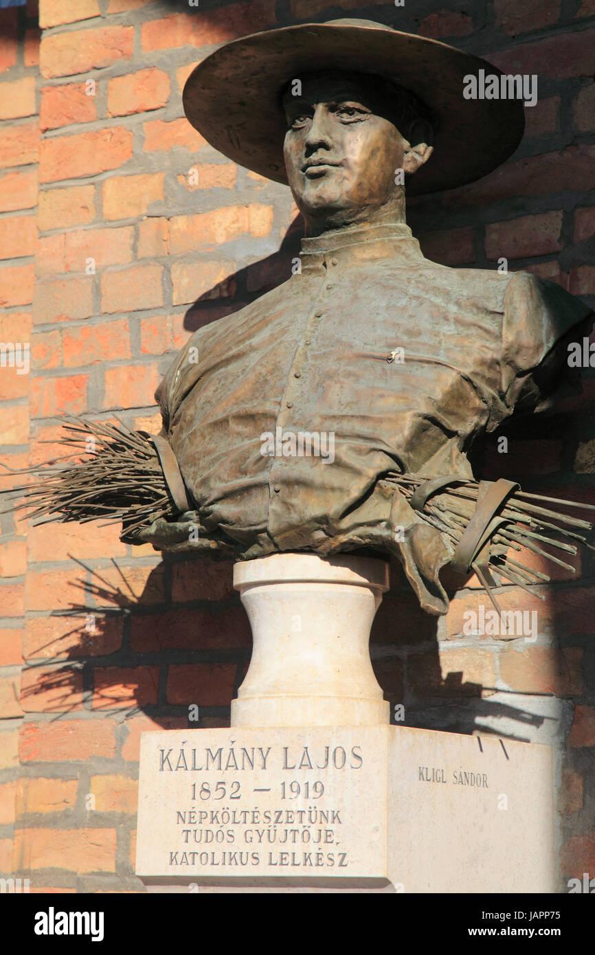 Hungary, Szeged, ethnographer Lajos K‡lm‡ny statue, - Stock Image