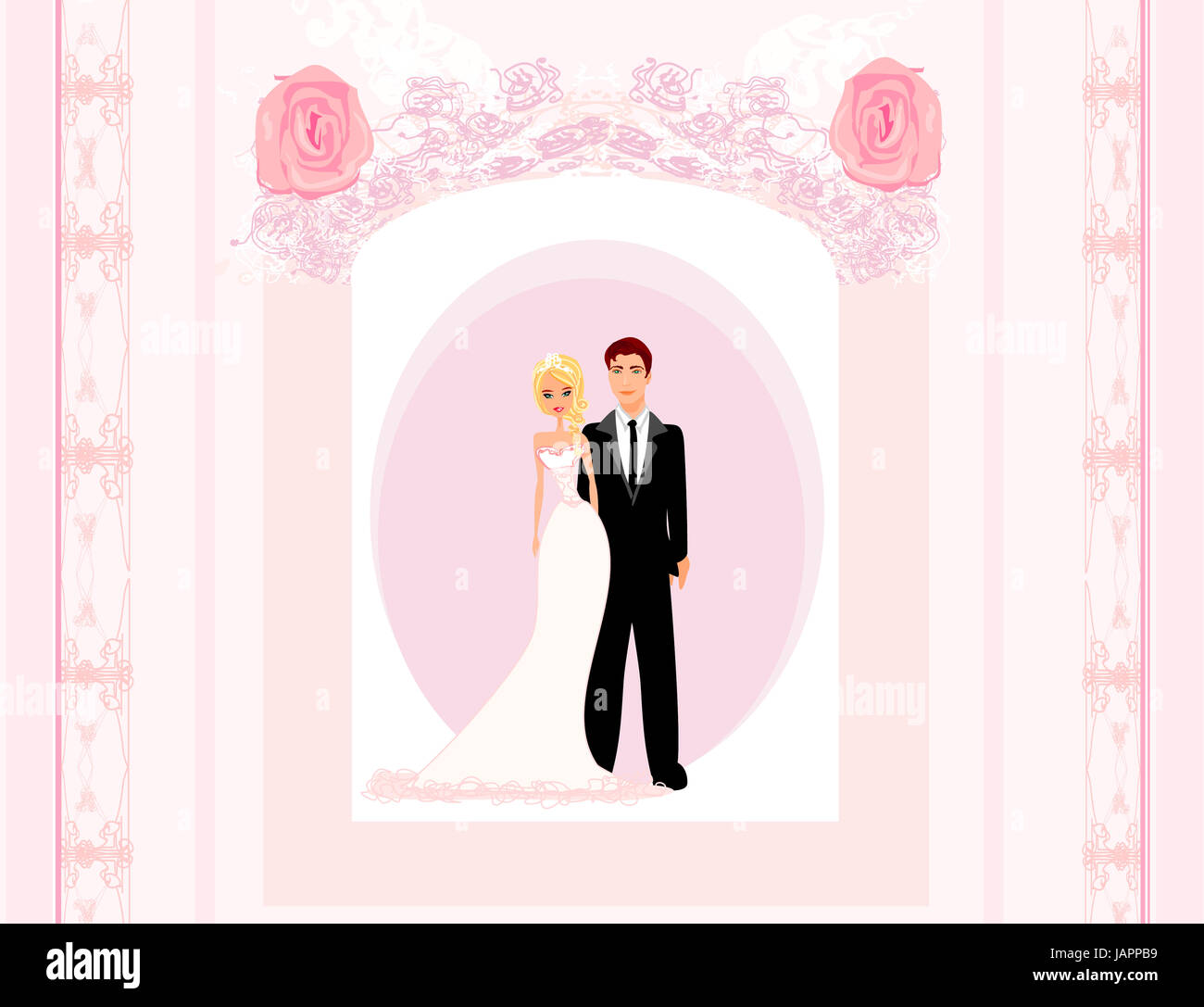 wedding invitation card with a cute couple Stock Photo: 144330013 ...