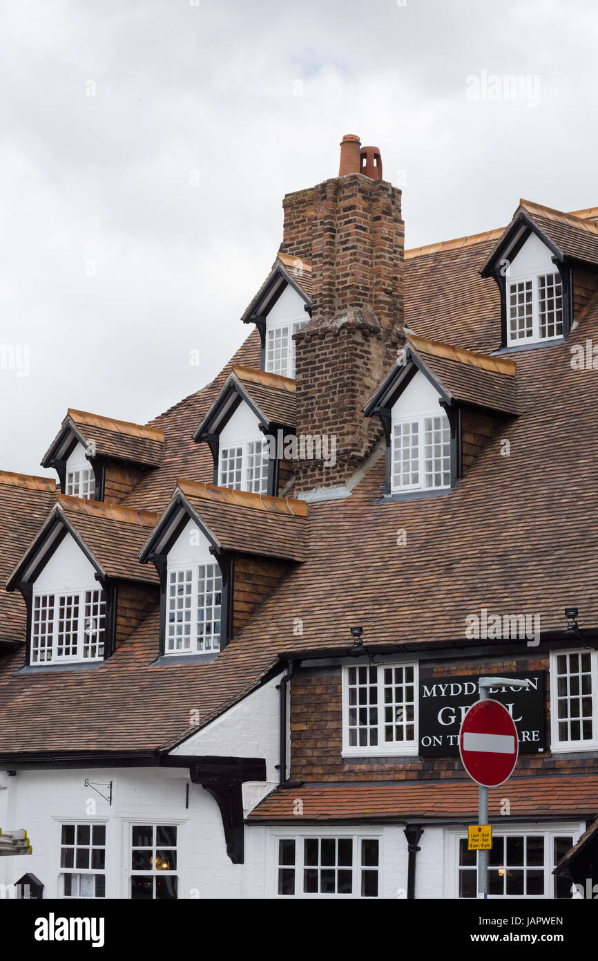 The Seven Eyes of Ruthin on the Myddleton Arms on Saint Peters Square a rare and unusual multi dormer set of windows - Stock Image