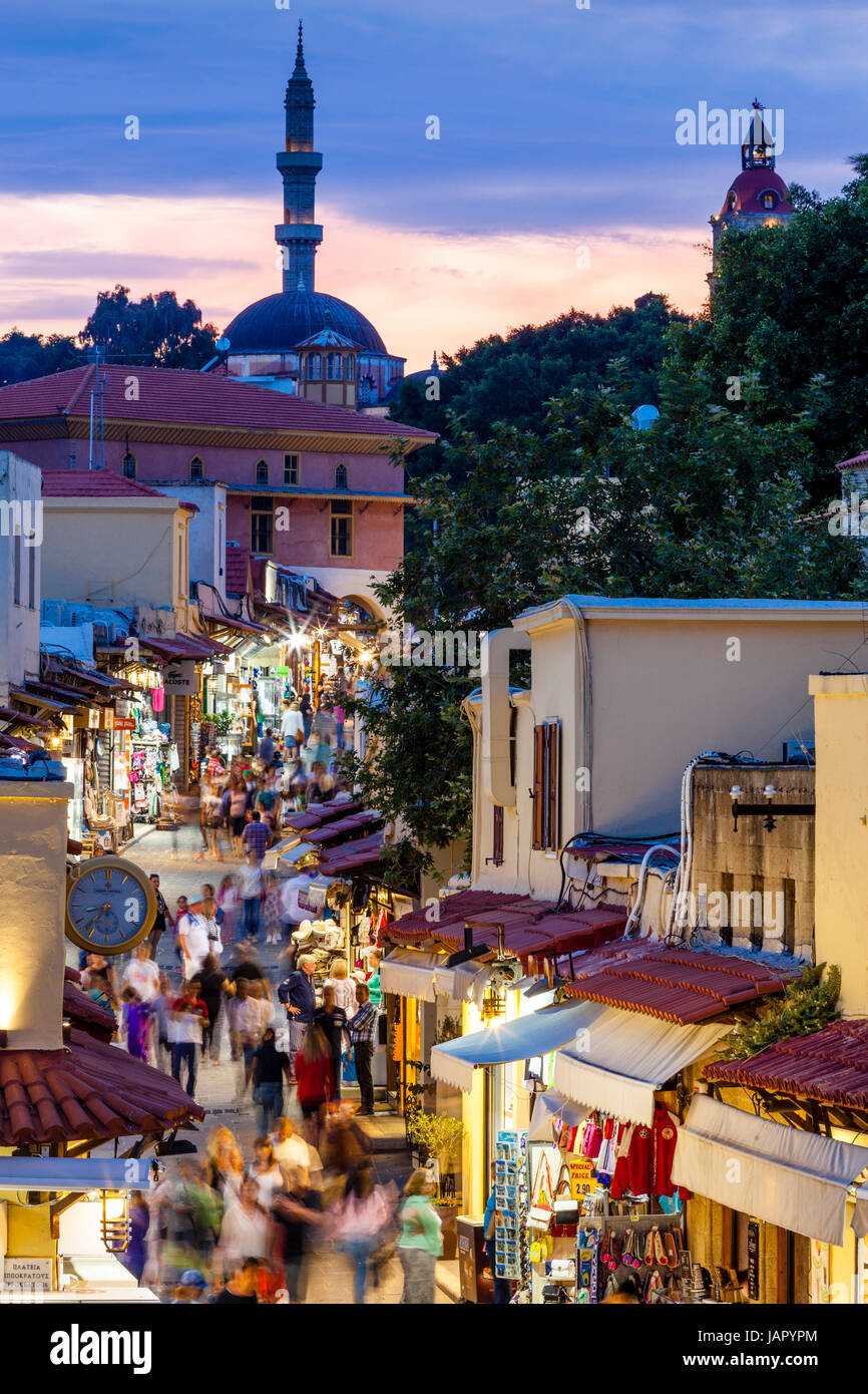 A Busy Street In Rhodes Old Town, Rhodes, Greece - Stock Image