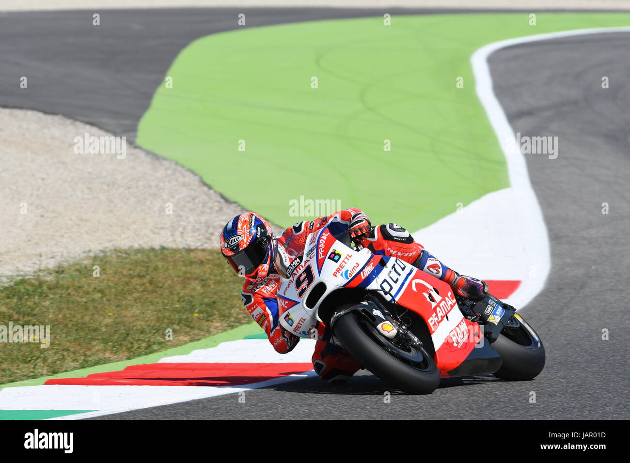 Mugello - ITALY, JUNE 3: Italian Ducati Pramac rider Danilo Petrucci at 2017 OAKLEY GP of Italy of Mugello MotoGP - Stock Image
