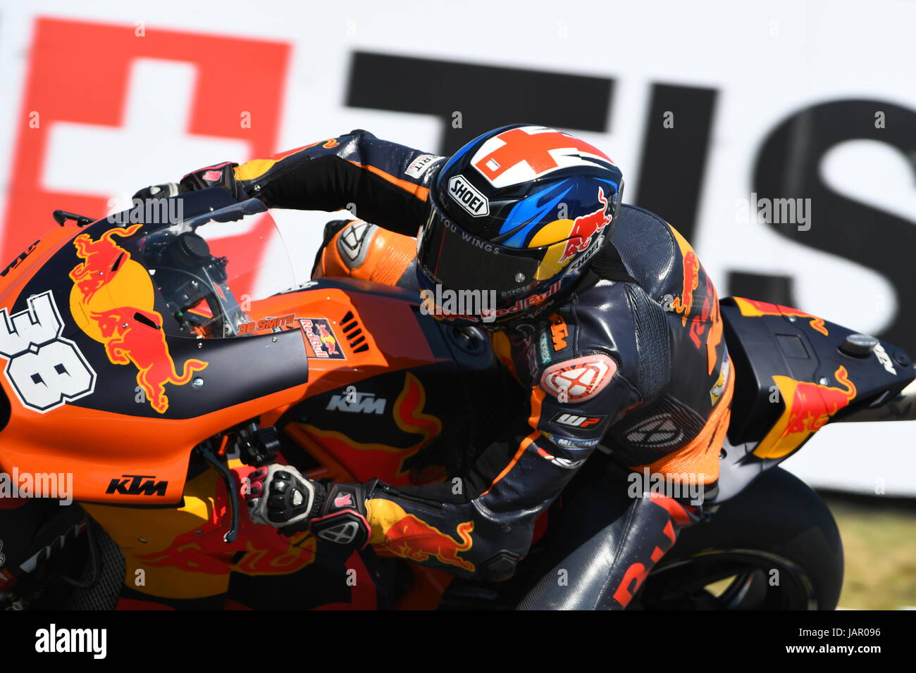 Mugello - ITALY, JUNE 3: British KTM MotoGP rider Bradley Smith at 2017 OAKLEY GP of Italy of MotoGP Mugello on - Stock Image