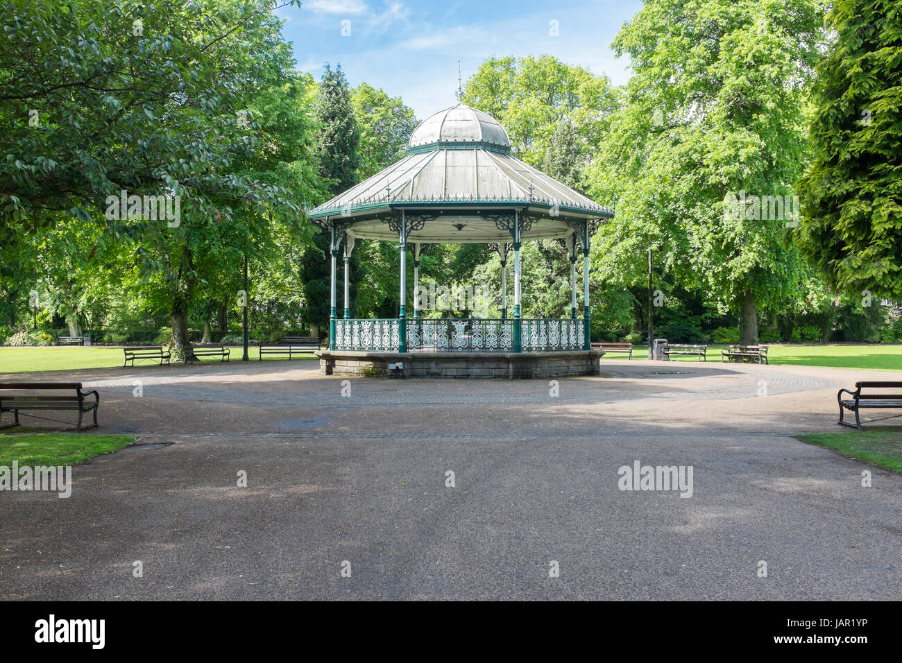 Bandstand at Hall Leys Park in Matlock, Derbyshire - Stock Image
