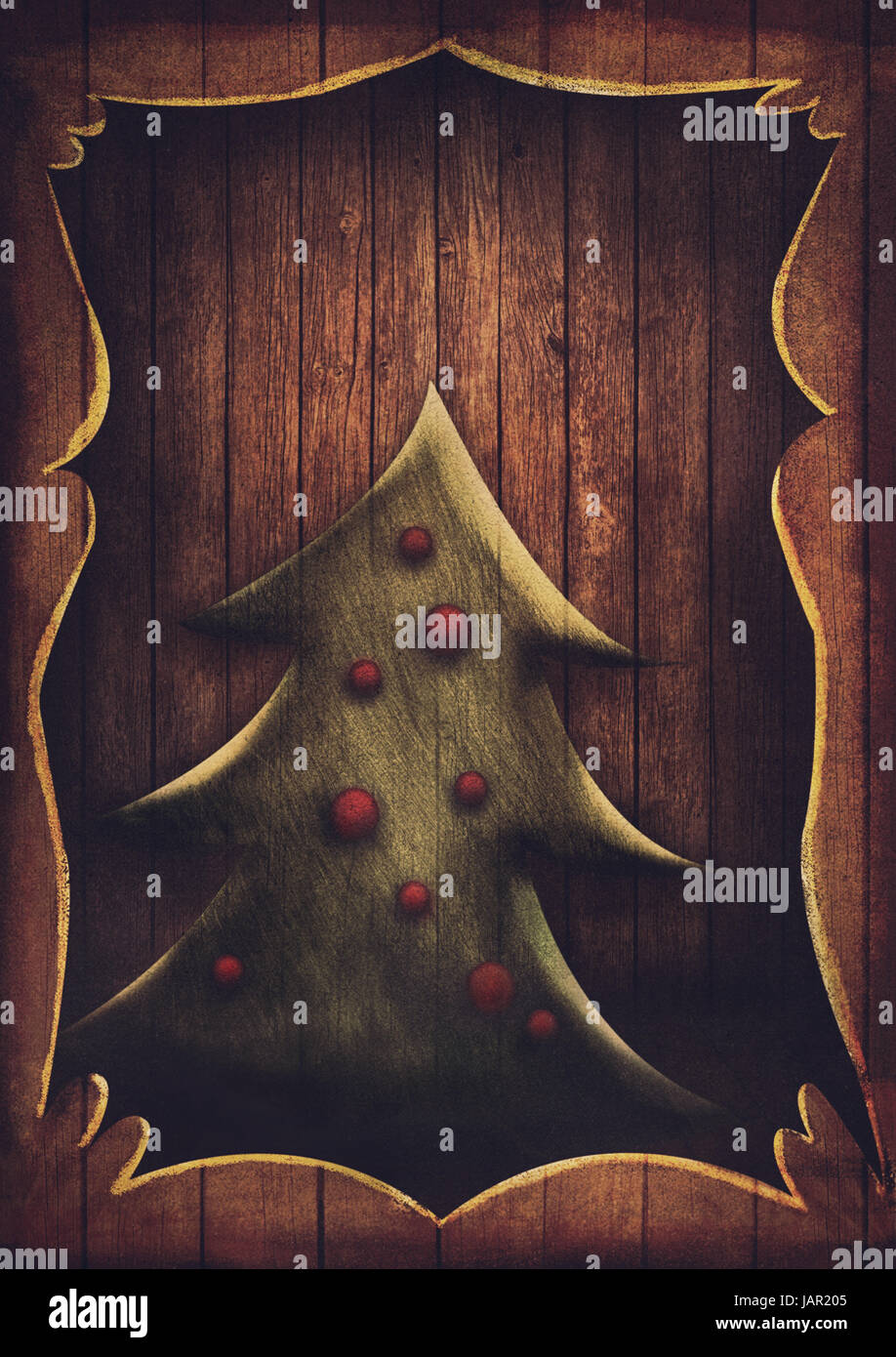 Christmas Card Vintage Christmas Tree In Wooden Frame Cartoon Stock Photo Alamy Cartoon christmas tree with city. alamy