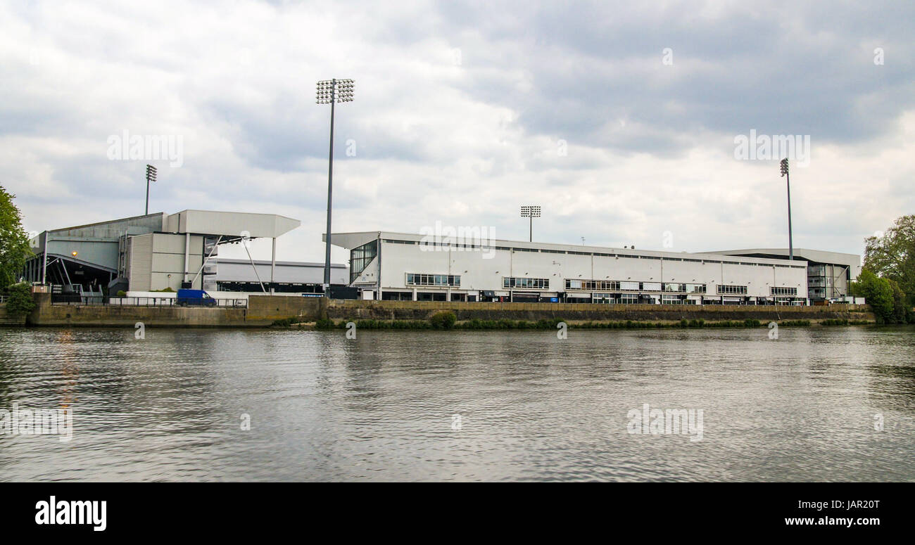 Riverside view of the Fulham football stadium in West London - Stock Image