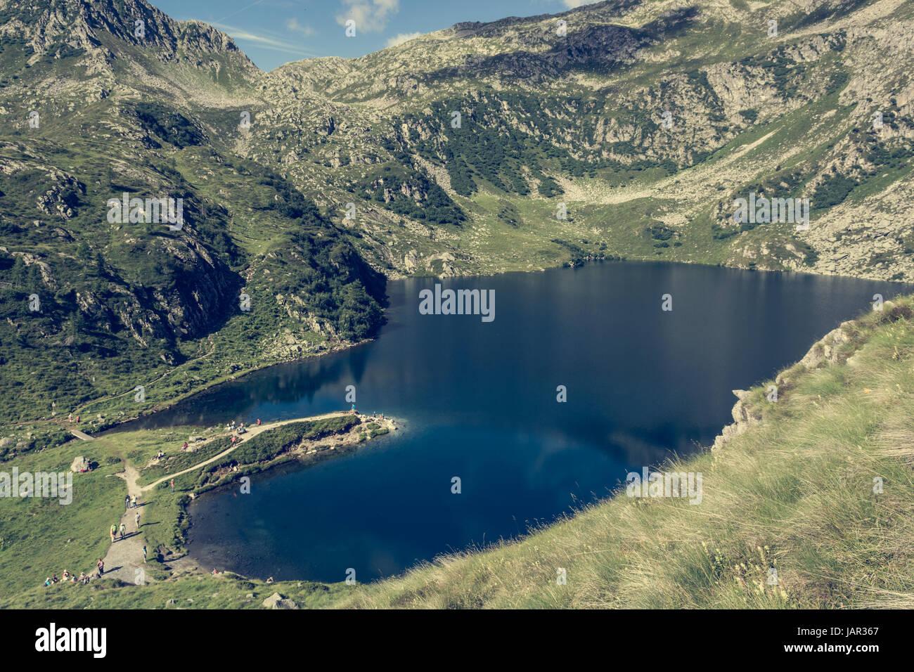 Glacier mountain lake in Brenta Dolomites. - Stock Image