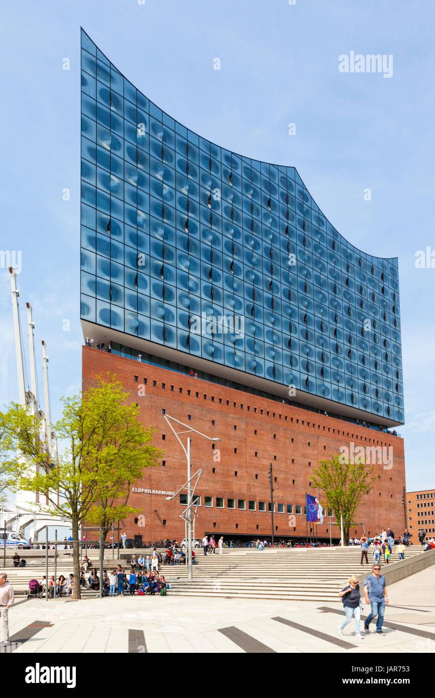 Hamburg, germany - May 17, 2017: Entrance side of Elbphilharmonie, concert hall at Hamburg HafenCity quarter. Tourists - Stock Image