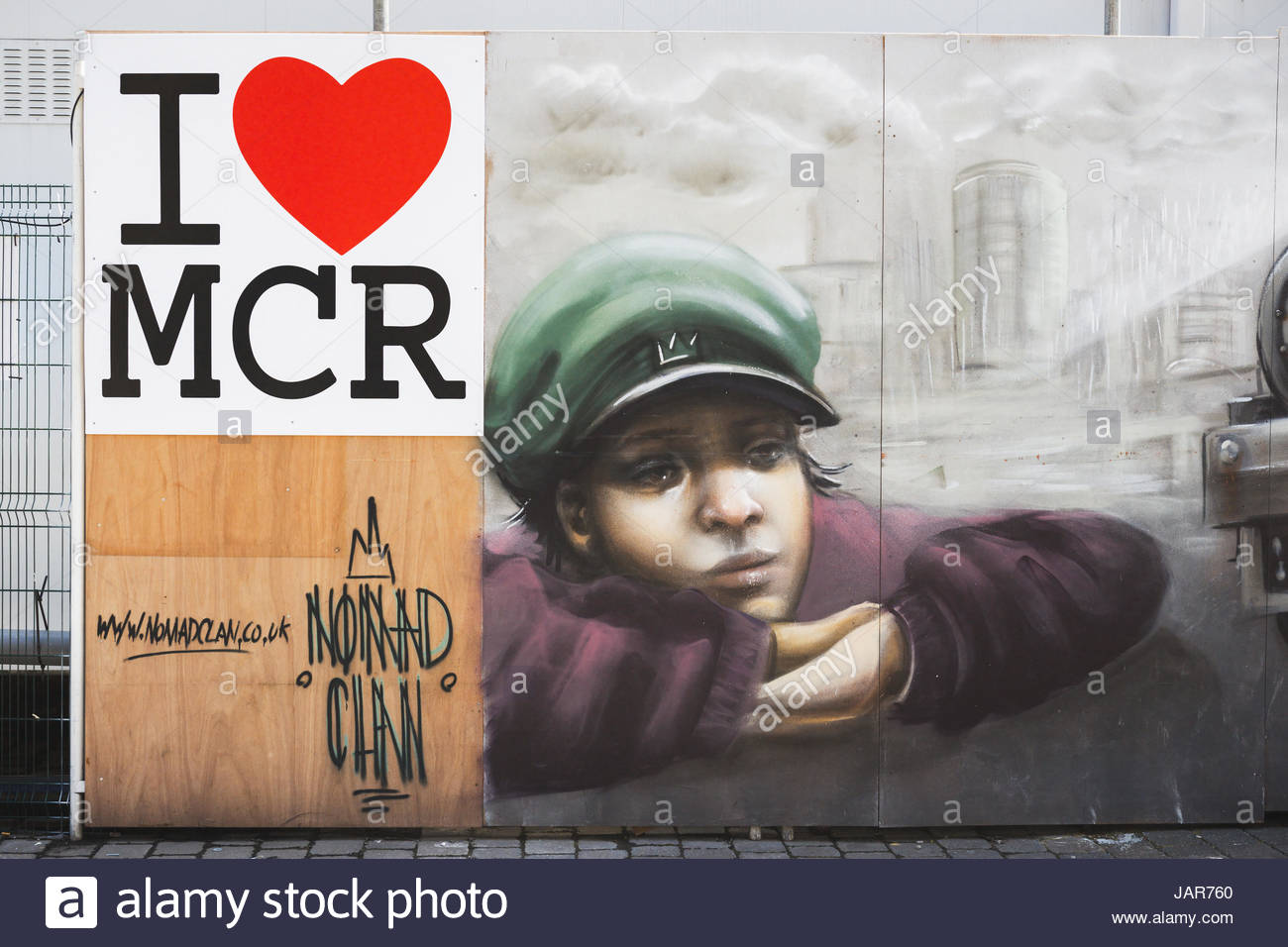 I Love MCR street art piece by Nomad Clan, Manchester UK - Stock Image