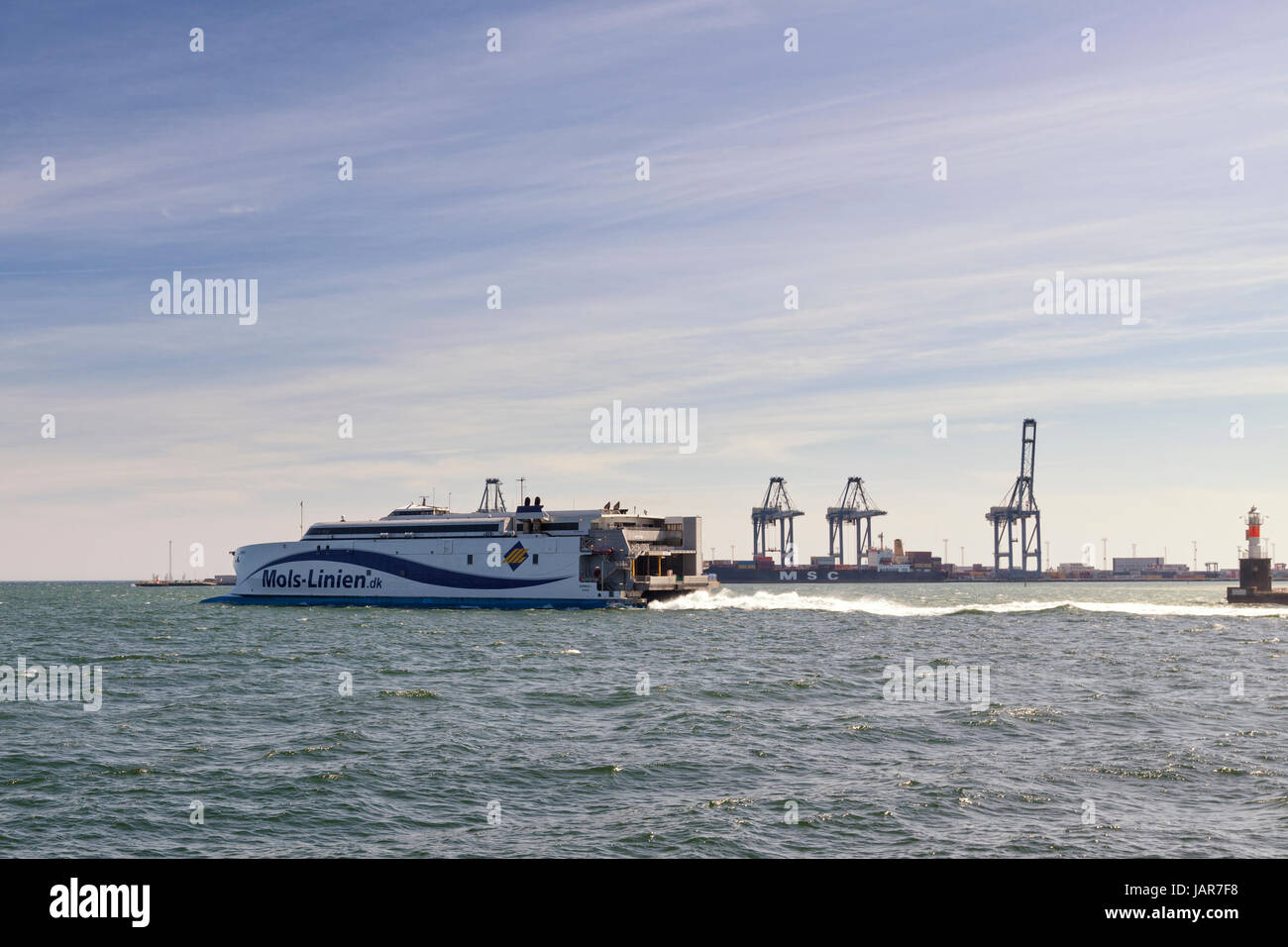 Aarhus, Denmark - May 2, 2017: Express ferry operated by Mols-Linien leaving Aarhus harbor, heading to Sealand. - Stock Image