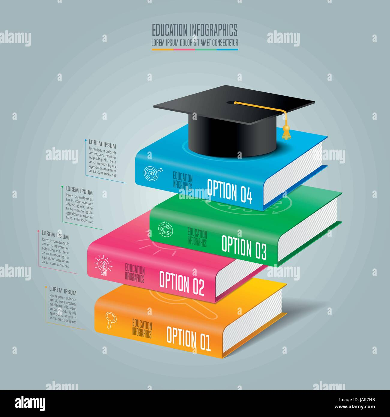 education infographics template 4 step option. graduation cap and