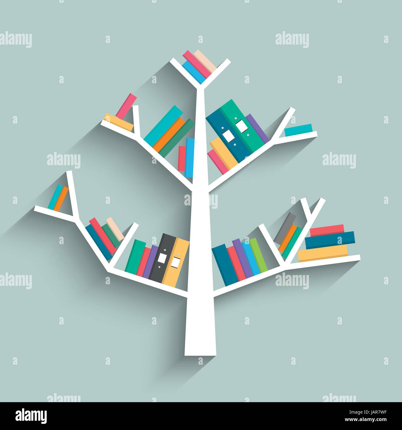 Bookshelf in form of tree with colorful books on blue pastel color ...