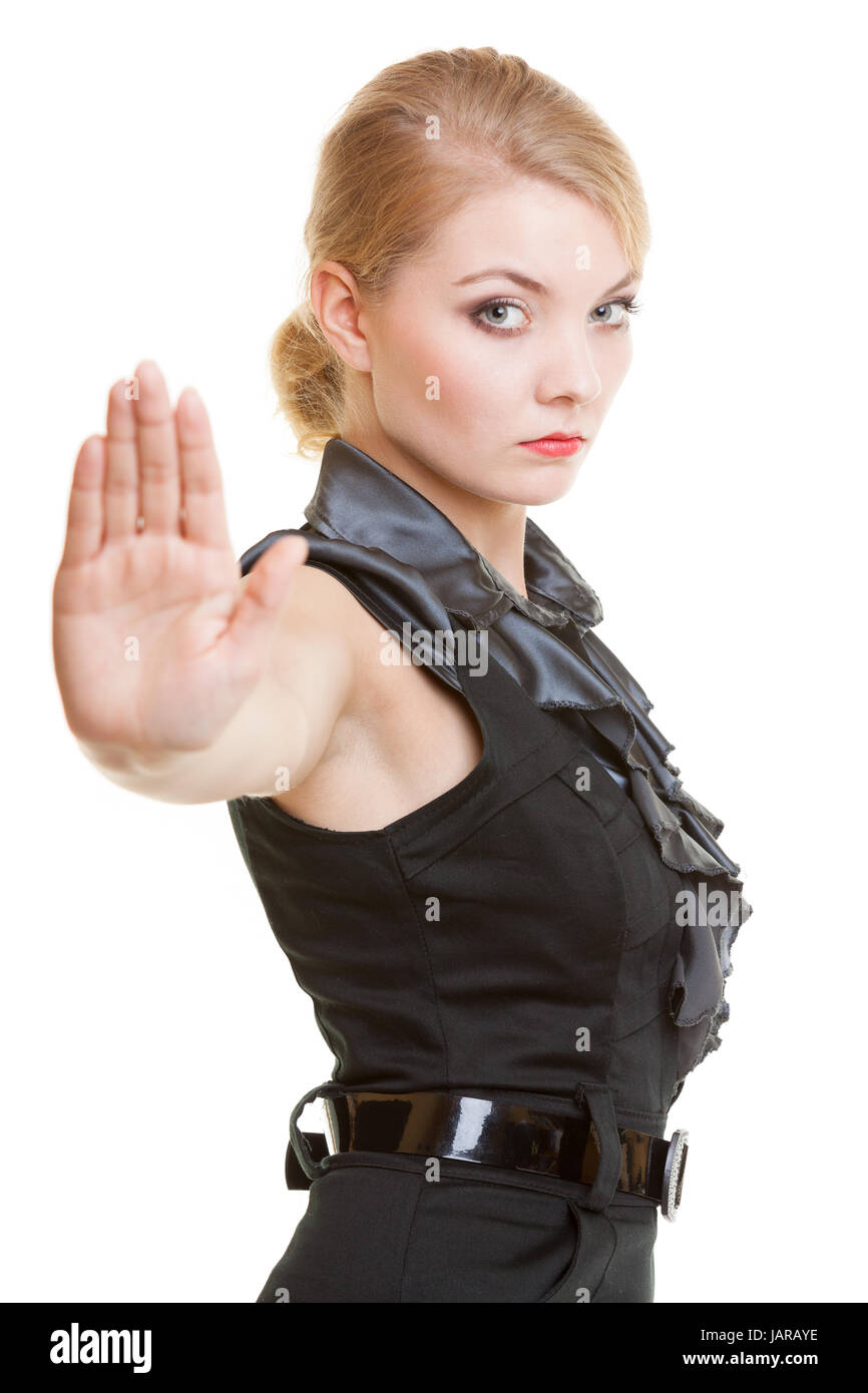 Blond Businesswoman With Stop Hand Sign Gesture Isolated On