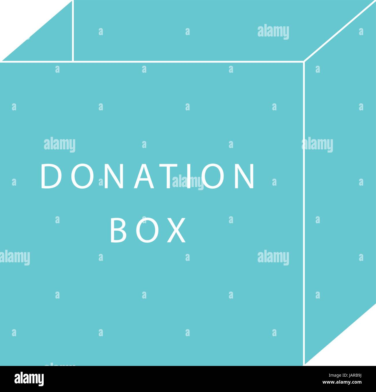 Donate concept of a donation box in simple flat vector style - Stock Image