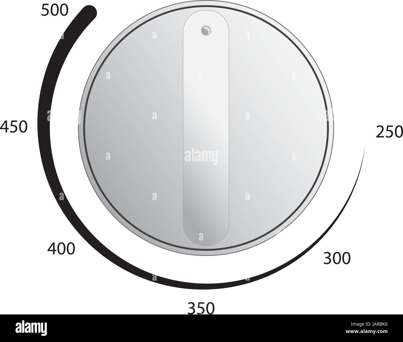 Oven dial vector with temperature measurements - Stock Vector