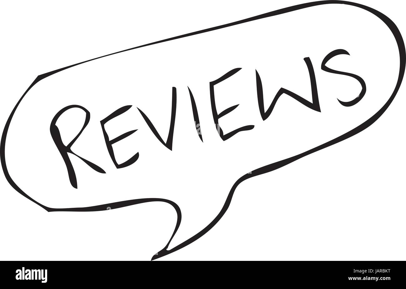Reviews written in speech bubble in a rough hand drawn sketch style vector - Stock Image