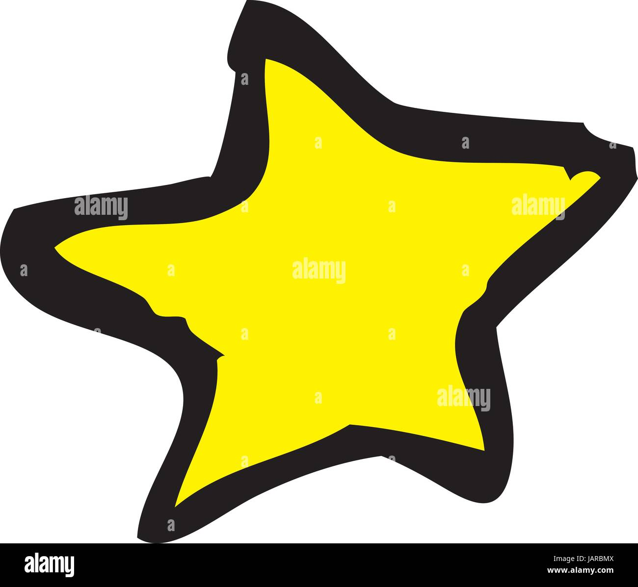 Star drawn in a rough hand drawn sketch style vector - Stock Image