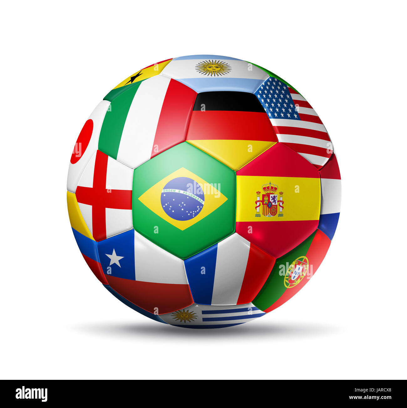3D football soccer ball with world teams flags. brazil world cup 2014. Isolated on white with clipping path - Stock Image