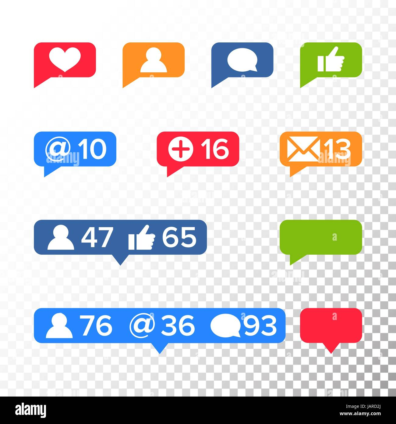 Notifications Icons Template Vector. Like symbol, Message and Stock ...